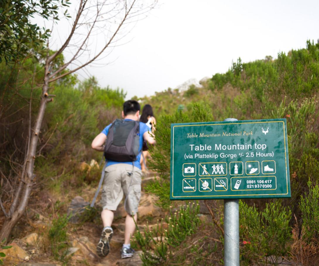 A group of volunteers in South Africa use their free time to hike Table Mountain.